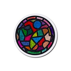 Stained Glass Color Texture Sacra Rubber Coaster (round)