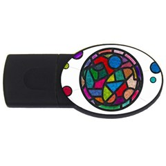 Stained Glass Color Texture Sacra Usb Flash Drive Oval (2 Gb)