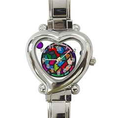 Stained Glass Color Texture Sacra Heart Italian Charm Watch