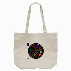 Stained Glass Color Texture Sacra Tote Bag (Cream)
