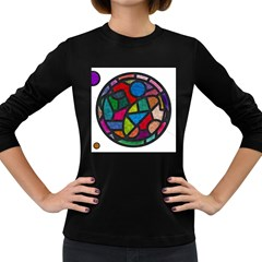 Stained Glass Color Texture Sacra Women s Long Sleeve Dark T-Shirts