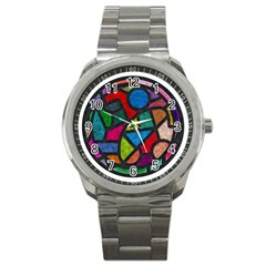 Stained Glass Color Texture Sacra Sport Metal Watch