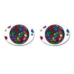 Stained Glass Color Texture Sacra Cufflinks (oval)