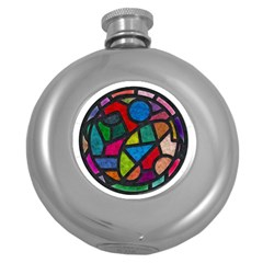 Stained Glass Color Texture Sacra Round Hip Flask (5 oz)