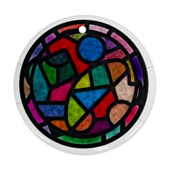 Stained Glass Color Texture Sacra Round Ornament (two Sides)