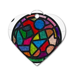 Stained Glass Color Texture Sacra Dog Tag Heart (one Side)