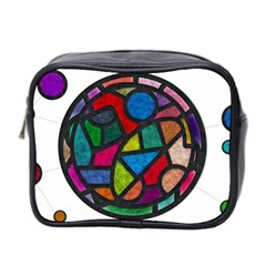 Stained Glass Color Texture Sacra Mini Toiletries Bag 2 Side
