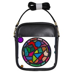 Stained Glass Color Texture Sacra Girls Sling Bags