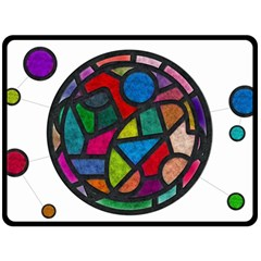 Stained Glass Color Texture Sacra Fleece Blanket (Large)