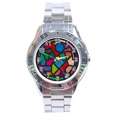 Stained Glass Color Texture Sacra Stainless Steel Analogue Watch