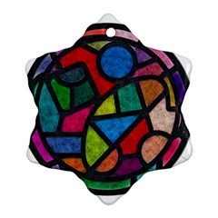 Stained Glass Color Texture Sacra Snowflake Ornament (Two Sides)