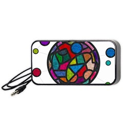 Stained Glass Color Texture Sacra Portable Speaker (Black)