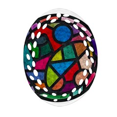 Stained Glass Color Texture Sacra Oval Filigree Ornament (Two Sides)