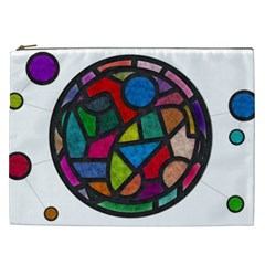 Stained Glass Color Texture Sacra Cosmetic Bag (XXL)