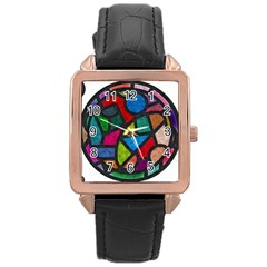 Stained Glass Color Texture Sacra Rose Gold Leather Watch