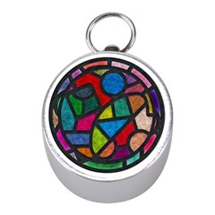 Stained Glass Color Texture Sacra Mini Silver Compasses