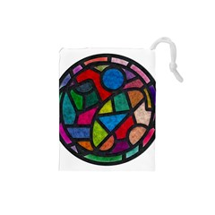 Stained Glass Color Texture Sacra Drawstring Pouches (small)
