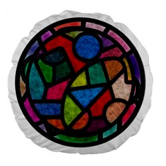 Stained Glass Color Texture Sacra Large 18  Premium Flano Round Cushions