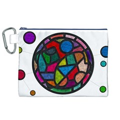 Stained Glass Color Texture Sacra Canvas Cosmetic Bag (XL)