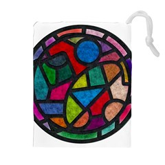 Stained Glass Color Texture Sacra Drawstring Pouches (Extra Large)