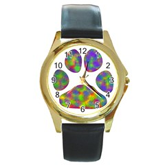 Paw Round Gold Metal Watch