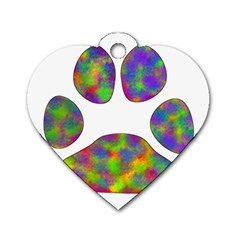 Paw Dog Tag Heart (One Side)