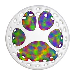 Paw Round Filigree Ornament (two Sides)