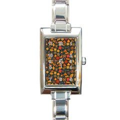 Pattern Background Ethnic Tribal Rectangle Italian Charm Watch
