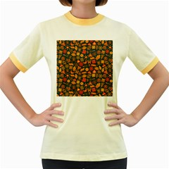 Pattern Background Ethnic Tribal Women s Fitted Ringer T-Shirts