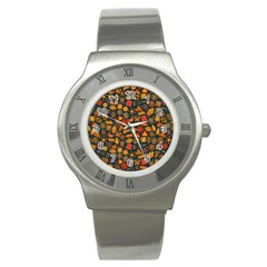 Pattern Background Ethnic Tribal Stainless Steel Watch