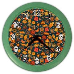 Pattern Background Ethnic Tribal Color Wall Clocks