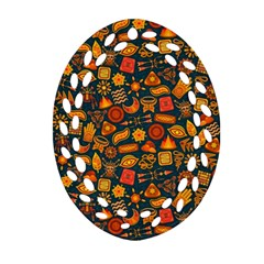 Pattern Background Ethnic Tribal Oval Filigree Ornament (Two Sides)