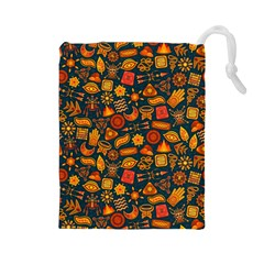 Pattern Background Ethnic Tribal Drawstring Pouches (large)