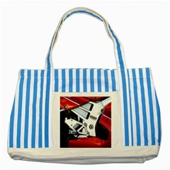 Footrests Motorcycle Page Striped Blue Tote Bag