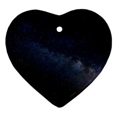 Cosmos Dark Hd Wallpaper Milky Way Heart Ornament (Two Sides)