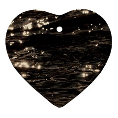 Lake Water Wave Mirroring Texture Ornament (heart)