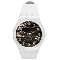Lake Water Wave Mirroring Texture Round Plastic Sport Watch (m)