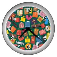 Presents Gifts Background Colorful Wall Clocks (Silver)