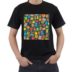 Presents Gifts Background Colorful Men s T Shirt (black) (two Sided)