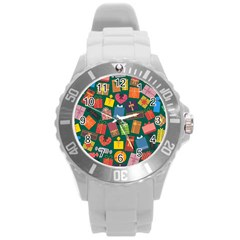 Presents Gifts Background Colorful Round Plastic Sport Watch (L)