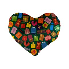 Presents Gifts Background Colorful Standard 16  Premium Heart Shape Cushions