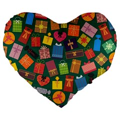 Presents Gifts Background Colorful Large 19  Premium Heart Shape Cushions