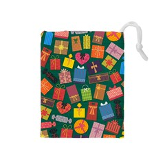 Presents Gifts Background Colorful Drawstring Pouches (Medium)