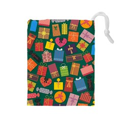 Presents Gifts Background Colorful Drawstring Pouches (Large)
