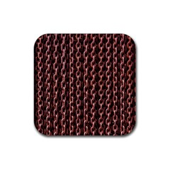 Chain Rusty Links Iron Metal Rust Rubber Coaster (Square)