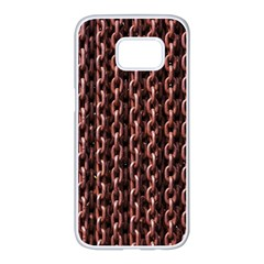 Chain Rusty Links Iron Metal Rust Samsung Galaxy S7 Edge White Seamless Case