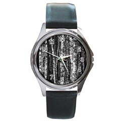 Birch Forest Trees Wood Natural Round Metal Watch