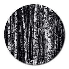 Birch Forest Trees Wood Natural Round Mousepads