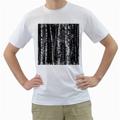 Birch Forest Trees Wood Natural Men s T Shirt (white) (two Sided)