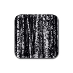 Birch Forest Trees Wood Natural Rubber Coaster (Square)